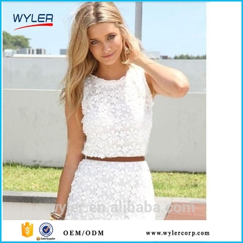 db78c55adea6 2016 new arrival White lace dress women summer dress sleeveless sexy cute  casual dresses