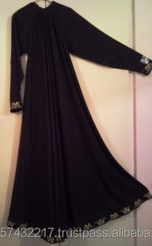 Abaya - 2014 new design dubai abaya - Dubai Deep Low Cut Empire Waist Fancy Abaya Long Sleeve Muslim Maxi Gown With Belt Black C