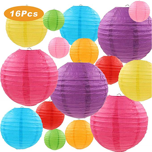 UMISS 16 Pcs Colorful Paper Lanterns (Size of 4, 6, 8, 10) for Home , Parties, and Wedding Decorations