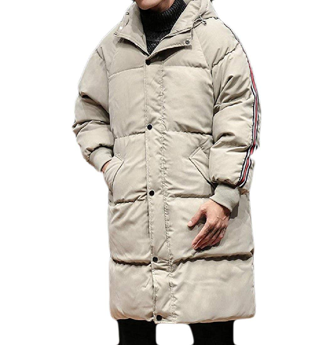 Abetteric Mens Oversized Mid-Long Stitching Solid Striped Parka Jacket Coat