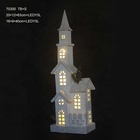 christmas decoration LED Christmas wooden church village with warming gift 70300