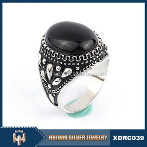 chraming jewelry large black color stone 925 sterling silver ring blanks for man