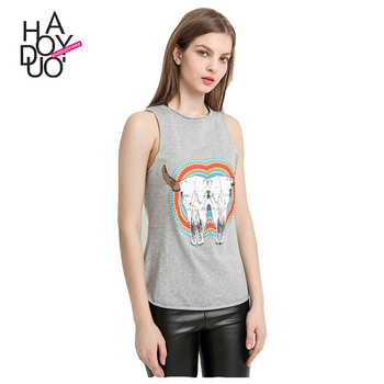HAODUOYI Women Summer Fashion Crop Top Funny Graphic Print Casual Crew Neck Sleeveless T-shirt for Wholesale