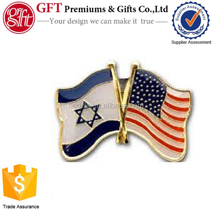 Factory Price High Quality Custom Gold Enamlel Epoxy Lapel Pin Israel and USA