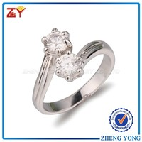 Fine Jewelry AAAAA Cubic Zirconia Two Stone Rings