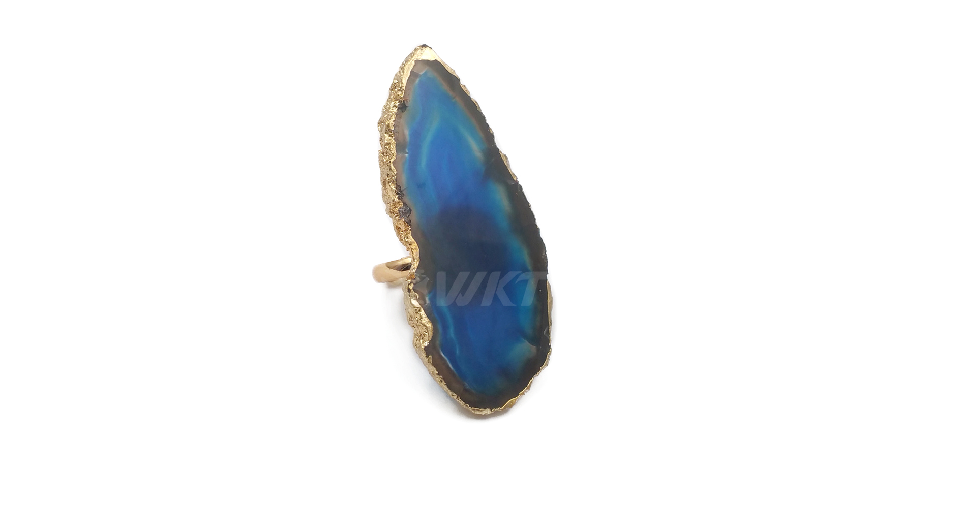 WT-R330 Hot sale Multicolor gemstone With 18k Gold plated Irregular Shape and Random send color Jewelry Natural Slice Agate Ring