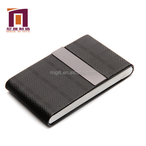 Customized Logo metal leather aluminum business card holder case