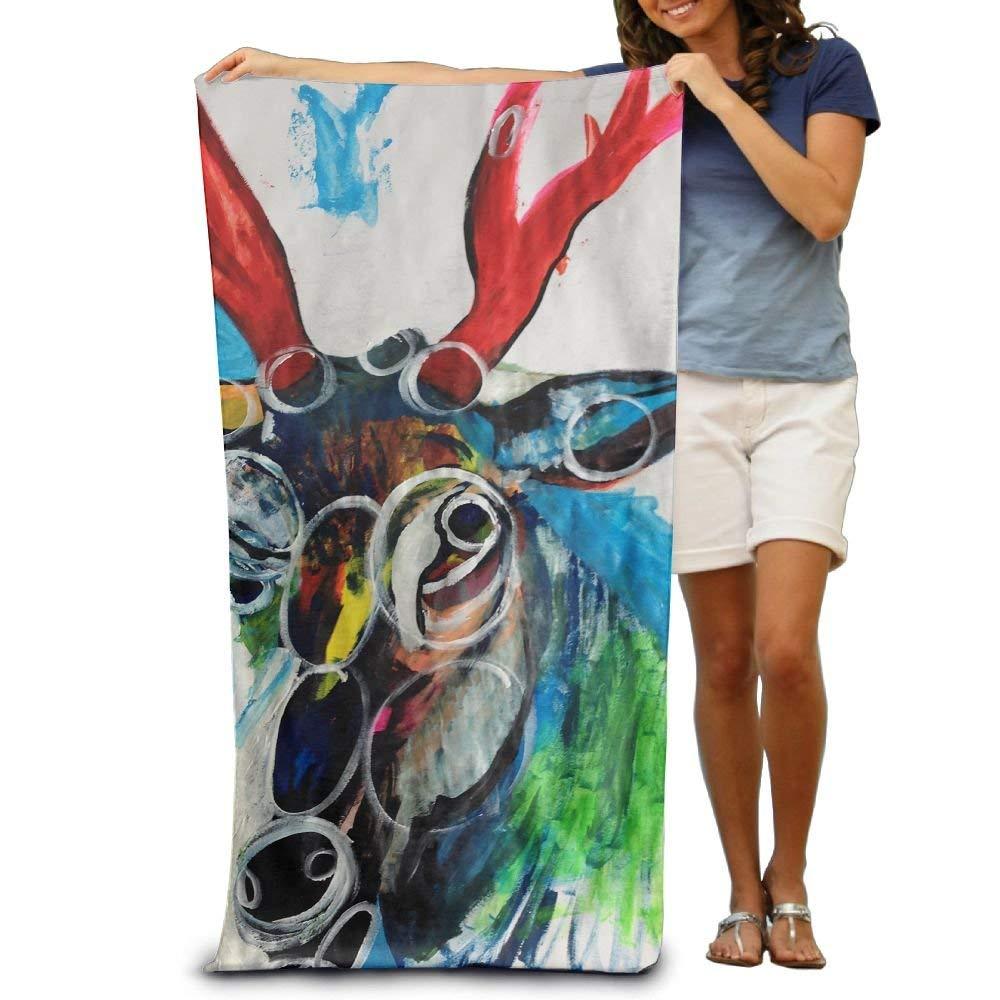 MOLIAN Deer Painting Neuter Luxury Microfiber Soft Cotton Machine Washable Extra Large Sand Bathing Towel