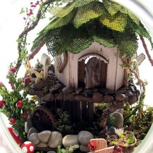 DIY Wooden Fairy Tree House Miniature 3D Toy Doll House Voice Control LED Light Crystal Glass