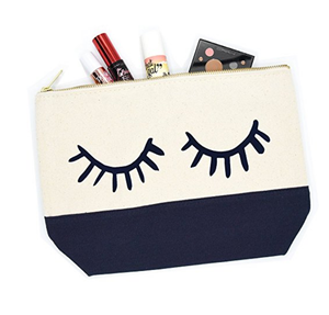 Wholesale Promotion small cute Cotton Zipper Makeup Bag Pouch sublimation lip shaped bag eyelash lips cosmetic bag