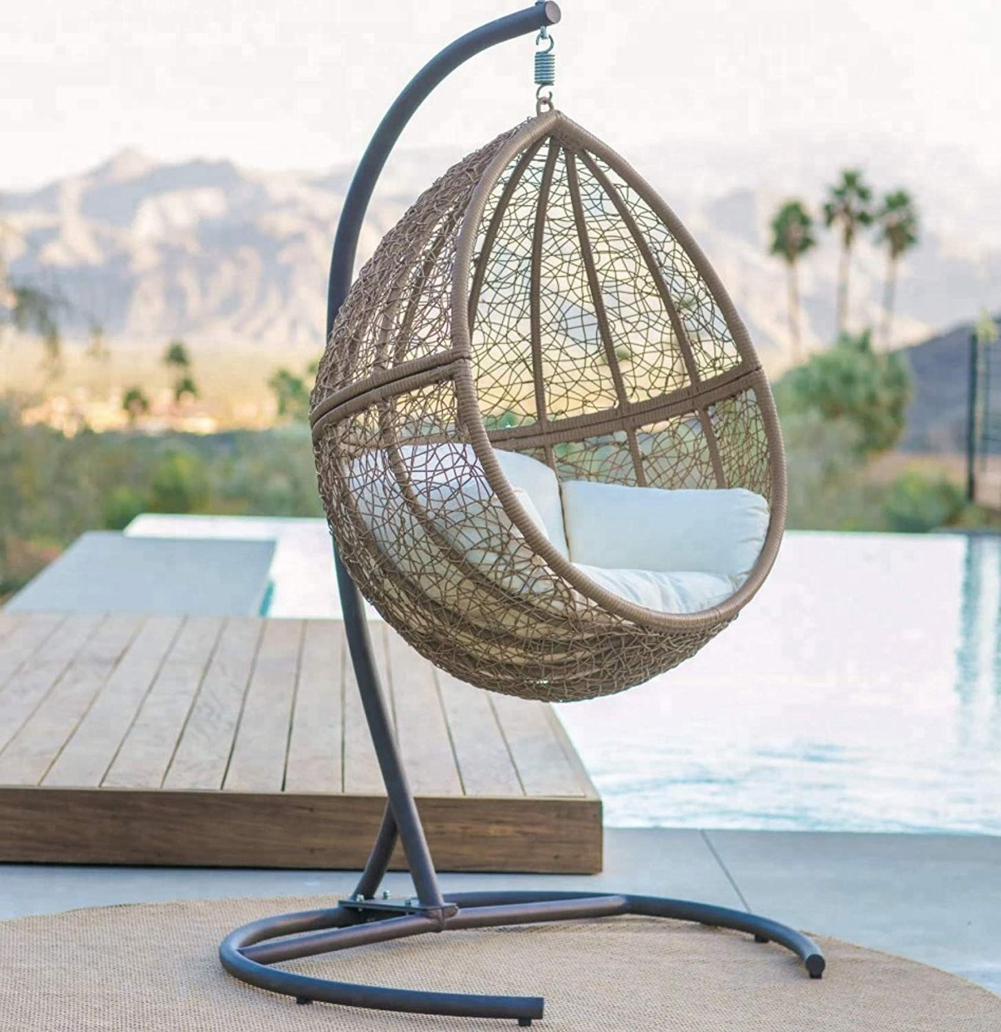 Magnificent Light Brown Resin Wicker Patio Hanging Egg Chair Stand Outdoor Garden Includes Beige Cushion Swing Hanging Chair Buy Patio Hanging Chair Hanging Egg Home Interior And Landscaping Ologienasavecom