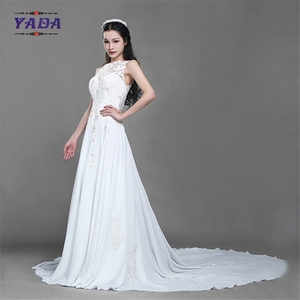New fashionable beaded embroidery sleeveless lace princess a line sexy wedding dress with long train