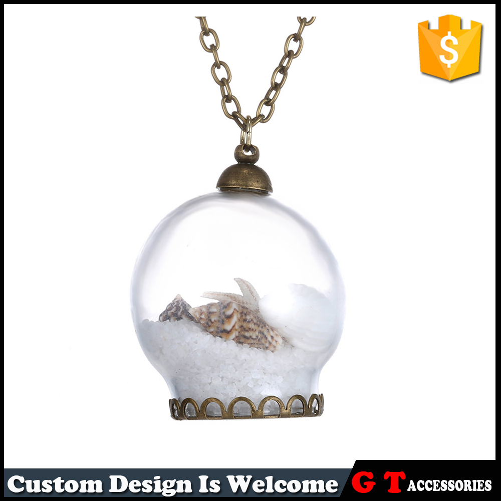 Hot Selling Glass Terrarium Necklace With Starfish Conch Land Waste