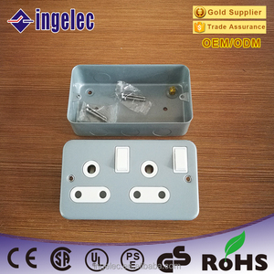 Wholesale electrical three round pin double outlet south africa 15 amp socket