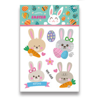 Wholesale children Tattoo Easter Egg Rabbit Colorful Sticker Nail Art Water Transfer Tattoos DIY Nail Sticker Mixed Decals