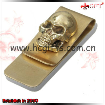 Custom design plating gold novelty money clip/skull novelty money clip