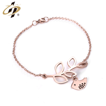 Shuanghua cheap stainless steel metal rose gold women bracelets with charm