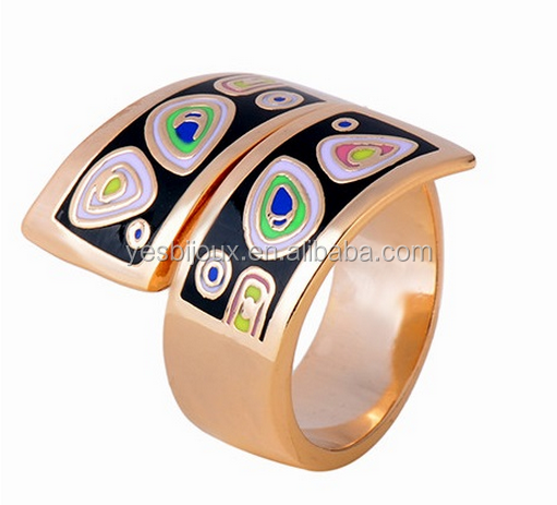 custom italy trendy stretch open closure enamel cloisonne ring