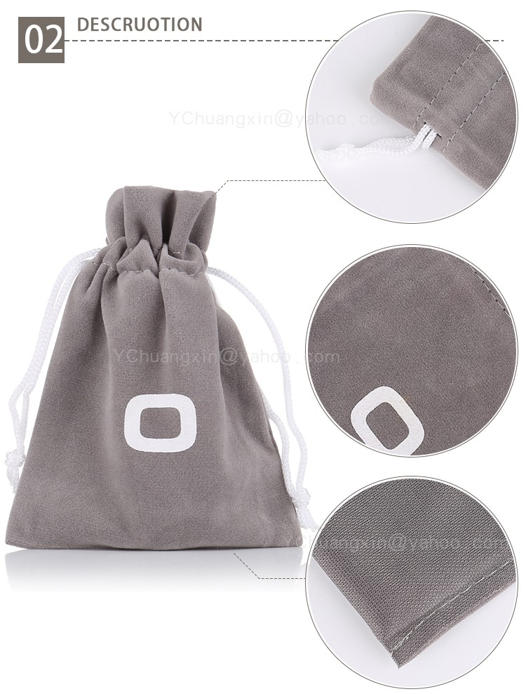 Customized Gray velvet game bag with white logo printing