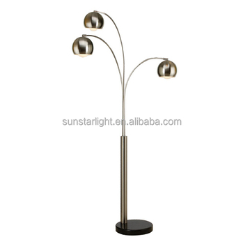 Three Heads Fish Arc Long Arm Floor Lamp Light For Living Room Hotel