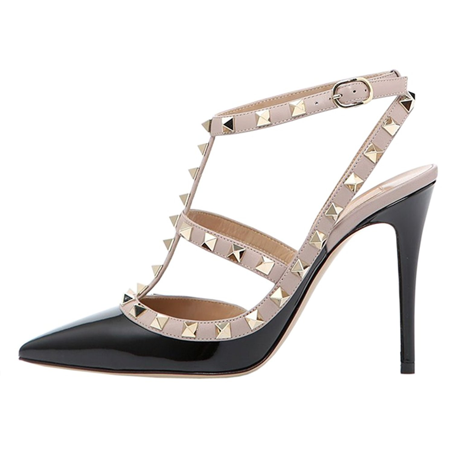 92bcb389c4 Get Quotations · June in Love Womens Heels Strappy Sandals Rivets Studs  Middle Thin Heels Sexy Sandals