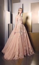 Real Sample New Designer copy Pink Arabic Lace Evening Gowns Dress 2016