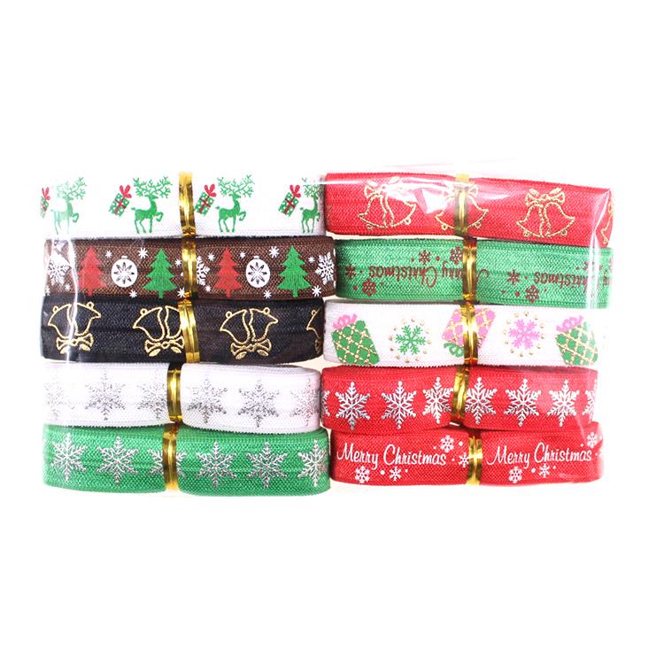 20yards Christmas printed fold over elastic for diy hair tie headband фото