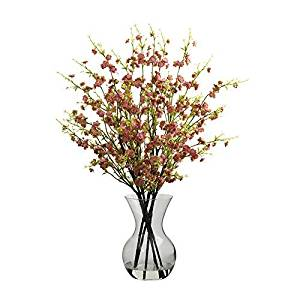 Nearly Natural Home Indoor Decorative Tabletop Fancy Cherry Blossoms With Vase Arrangement Pink by Nearly Natural