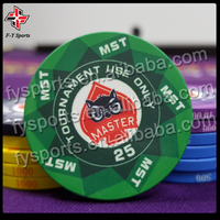 customized poker club chips casino tournament ceramic chip 39mm 10g poker chips with UV printing