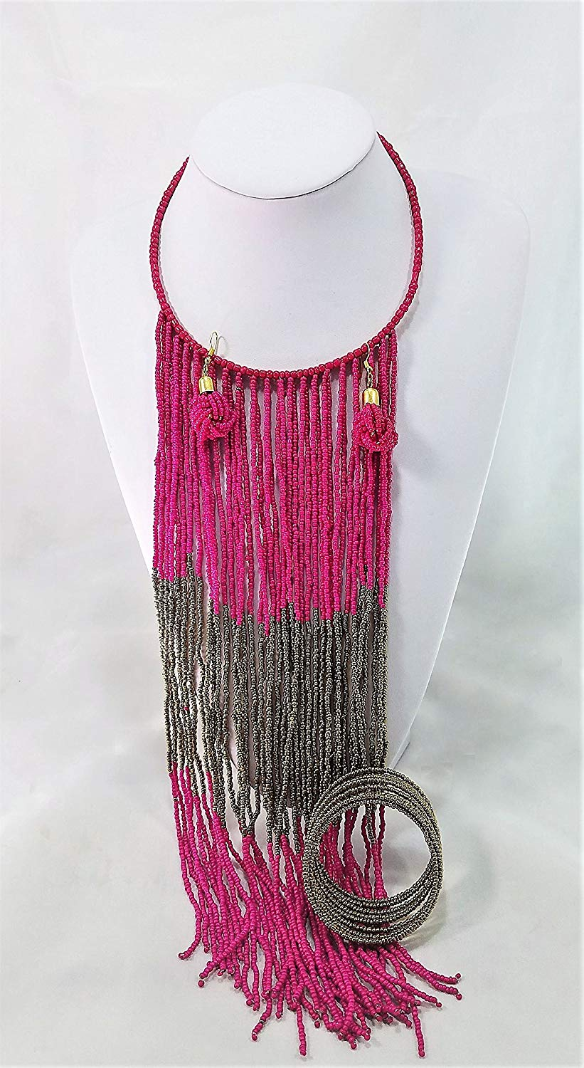 Handmade Fuchsia and Gold Bracelet, Earrings, and Necklace Maasai Masai Jewelry Set