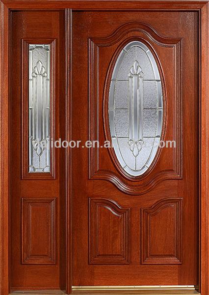 Ovalada de cristal s lido puertas de madera de teca de for Modelos de puertas de madera con vidrio