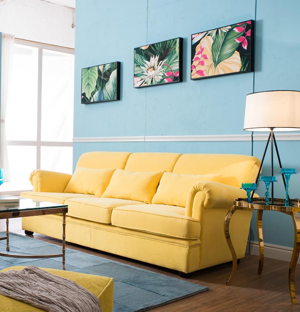 Hohe qualität gelb farbe samt Sofa design möbel LS-001-Wohnzimmer ...