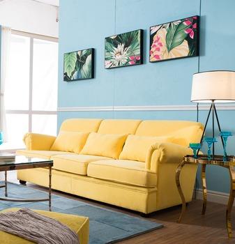 High Quality Yellow Color Velvet Sofa Design Furniture LS 001