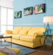 high quality yellow color velvet Sofa design furniture LS-001