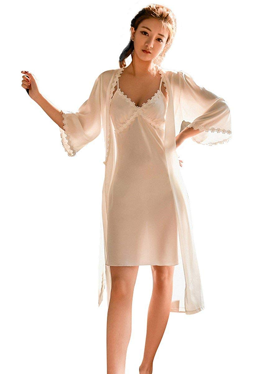 937fee9c83 Get Quotations · Theone Apparel Sheer Slip Chemise with Nightie Robe