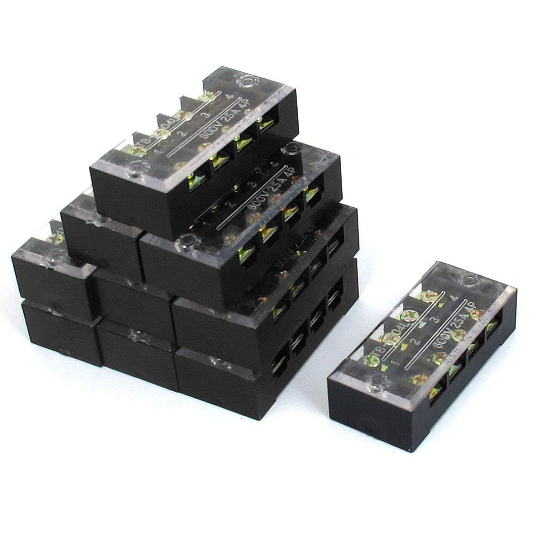 Aexit 10 Pcs 2 Row 4 Position Screw Terminal Block Strip Connector 600V 25A