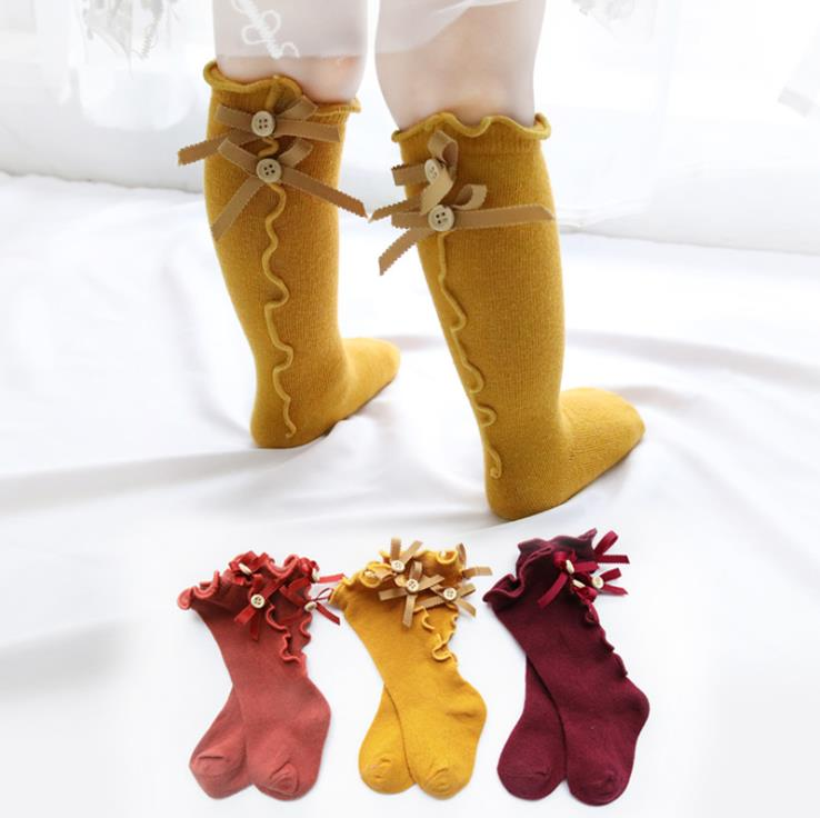 c14b83c453173 S10540B Cute Baby Long Booties Kids Striped Socks Children Knee High Bows  Princess Socks
