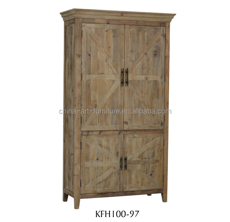 4 door rustic standing wooden <strong>cabinet</strong>,natural wood Living Dining room storage furniture
