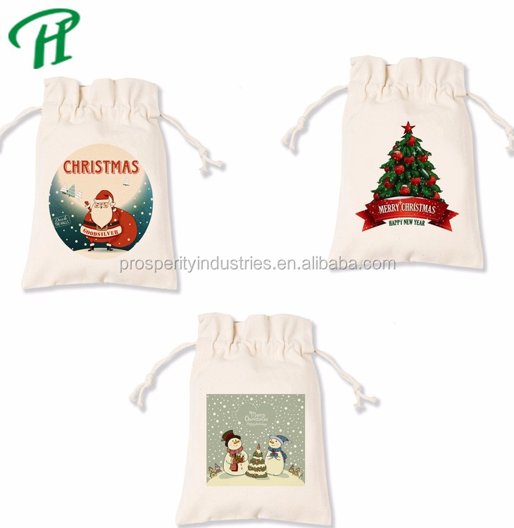 Christmas Halloween Fashion Canvas Tote Bag drawstring gift promotion bag