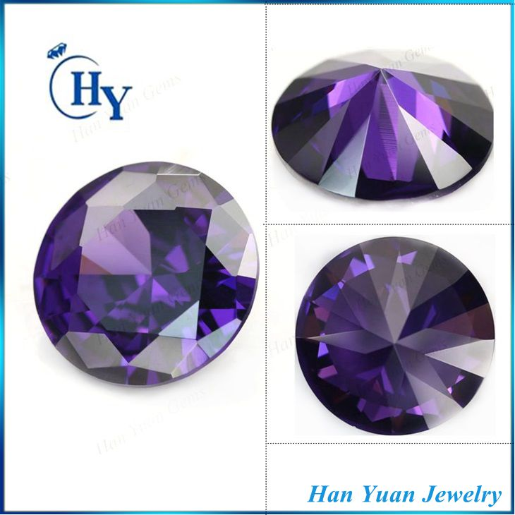 China alibaba AAA round loose cubic zirconia amethyst stone for jewelry making