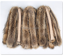 Wholesale Natural Fluffy Raccoon Fur Trimming for Hood with Black Tips for Women Coat