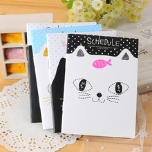kawaii stationery small cute cartoons cat school notebook paper diary book caderno promotion gifts12.5*9cm K6271