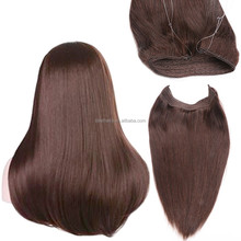 Invisible Wire Headband Hair Extensions 100g Unprocessed Brazilian Virgin Straight Human Hair Piece Fish In Hair Weave