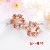 champagne color wreath 24 carat gold earrings