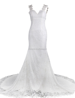 Special design one piece white beaded trumpet wedding dress with sweep train