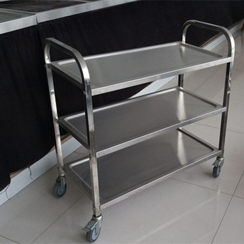 Commercial Kitchenware 3-tier Stainless Steel Mobile Food Trolley ...