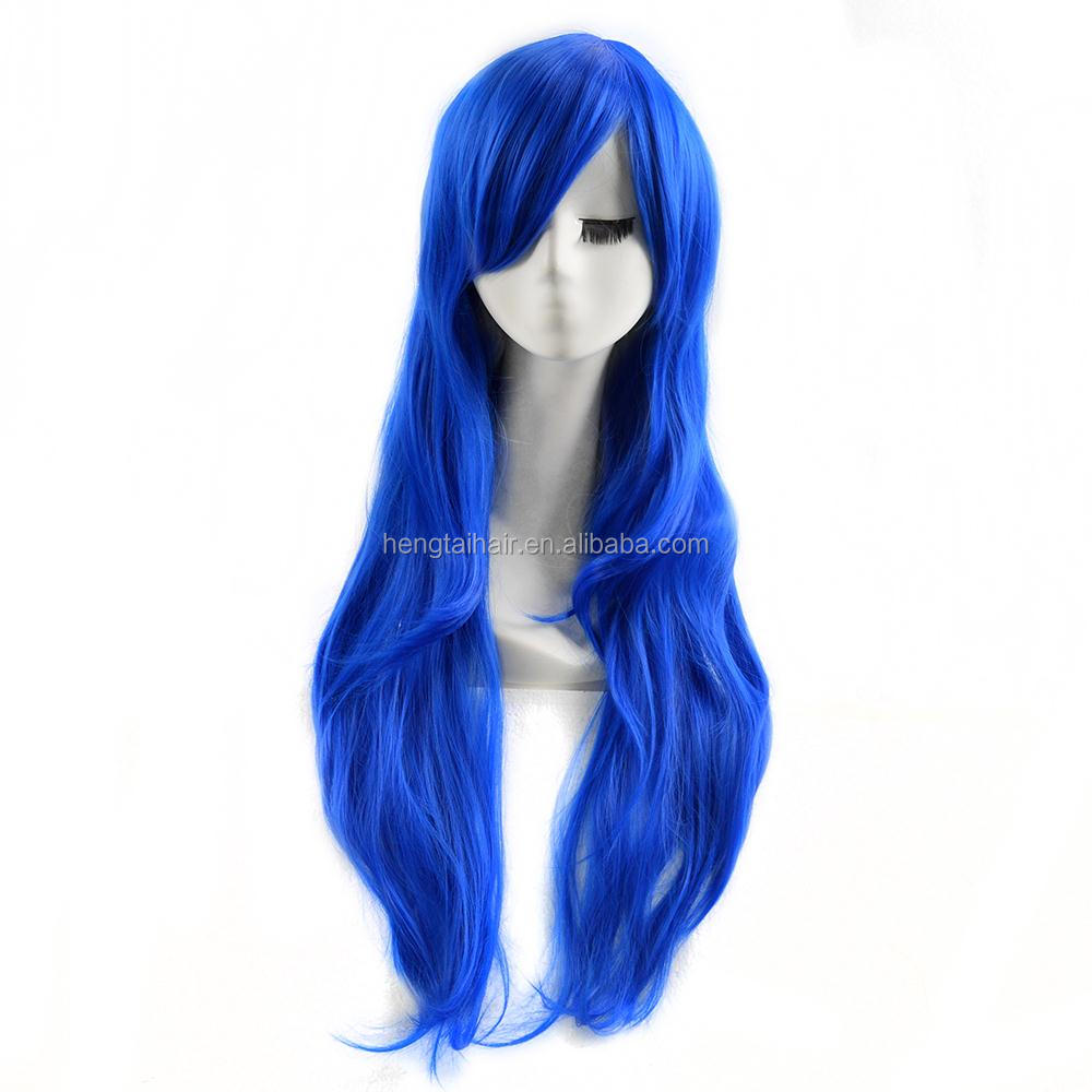 Quality Thick 80cm Medium Straight Dark Blue Black Wig Haqua du Lot Herminium Anime Dolls Cosplay Wigs