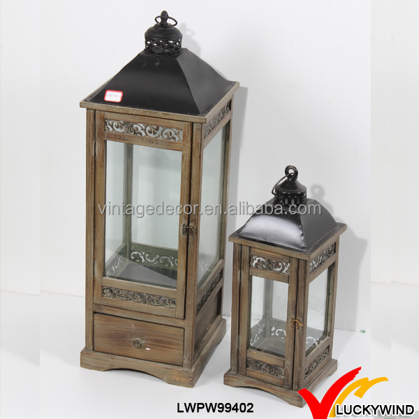 Rustic Vintage Metal And Glass Candle Lantern