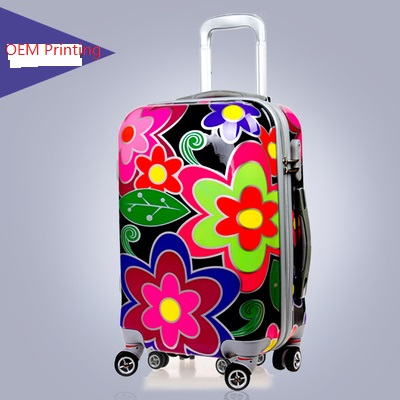 OEM flower printing hard shell abs pc luggage 3 sizes in set