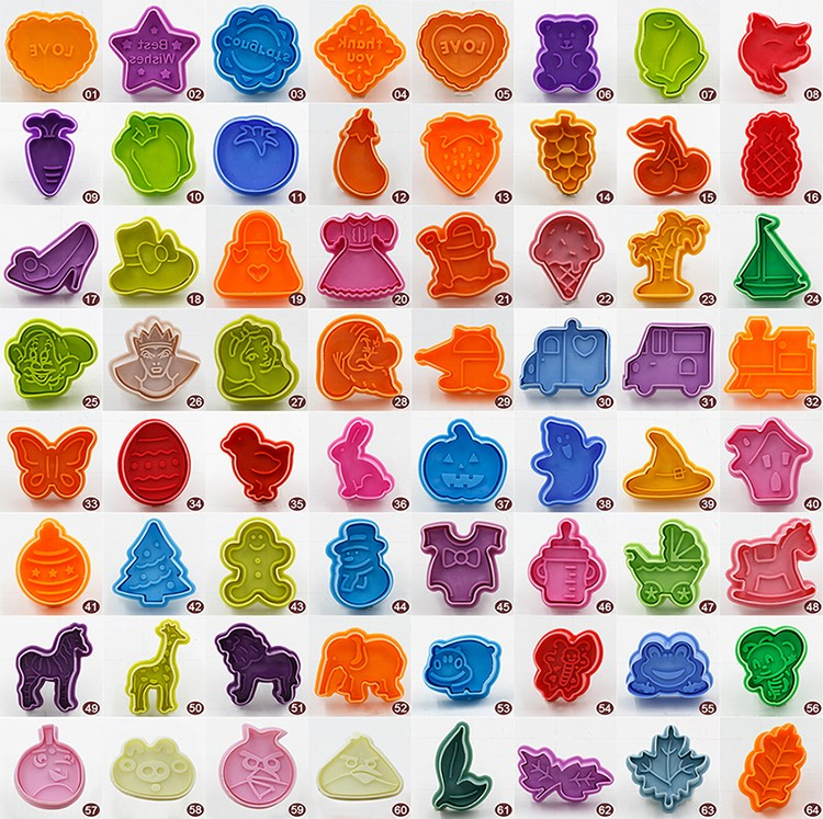 64 styles plastic cookie cutters